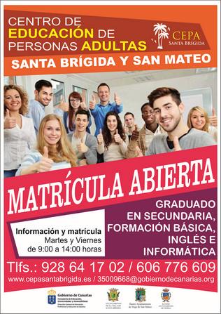 La Escuela de Adultos de Santa Brígida y San Mateo mantiene abierto el plazo de matrícula